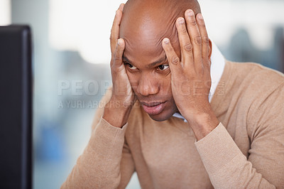 Buy stock photo A businessman struggling to concentrate