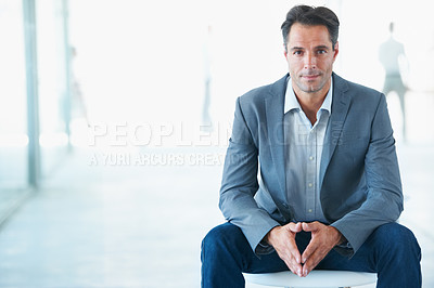 Buy stock photo Portrait of a mature businessman sitting in a large office
