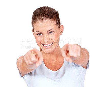 Buy stock photo A gorgeous young woman pointing at you while isolated on a white background