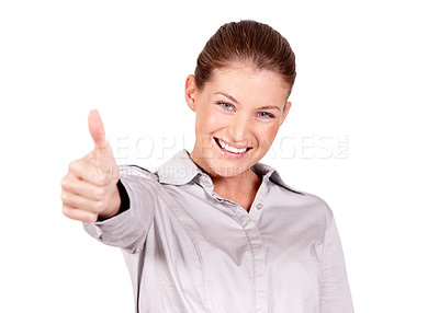Buy stock photo A lovely young woman giving you a thumbs up while isolated on a white background