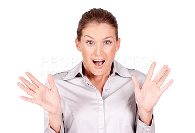 Buy stock photo A beautiful woman looking surprised while isolated on a white background