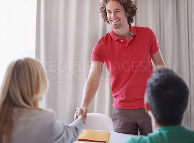 Buy stock photo Cropped shot of a young man arriving for a job interview