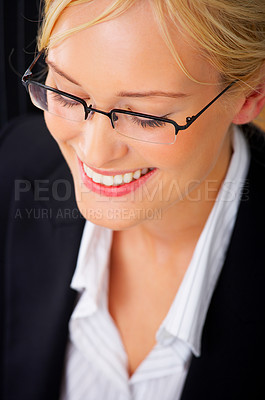Buy stock photo Close-up portrait of an smiling natural beauty business woman.
