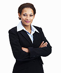 Happy business woman with hands folded on white
