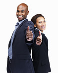 Happy business colleagues showing a thumbs up sign on white