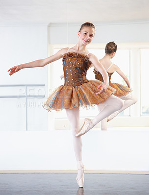 Buy stock photo Full length shot of a young ballerina rehearsing in a studio