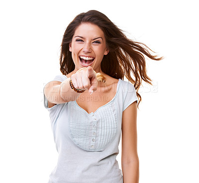 Buy stock photo A gorgeous young woman laughing and pointing at the camera