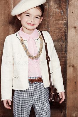 Buy stock photo Portrait of an adorable little girl dressed in a style reminiscent of Coco Chanel