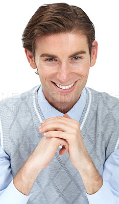 Buy stock photo Portrait of a young man sitting with hands clasped while isolated on a white background