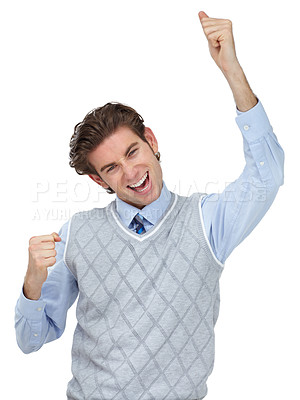 Buy stock photo A young man celebrating while isolated on a white background