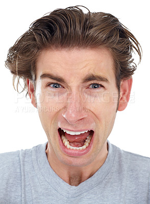 Buy stock photo Young man shouting at the camera - portrait