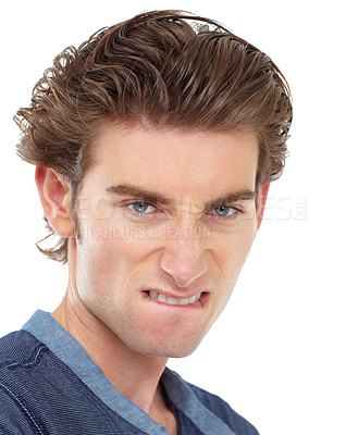 Buy stock photo Portrait of a young man giving you a feisty look