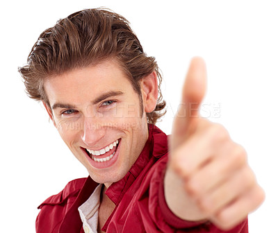 Buy stock photo Handsome young man giving a thumbs-up - portrait