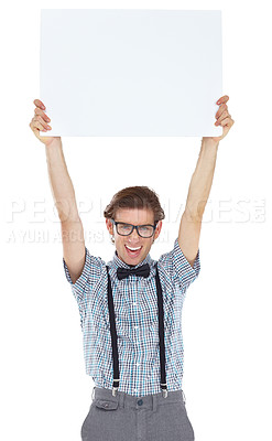 Buy stock photo Portrait of an excited young man holding up a white sign