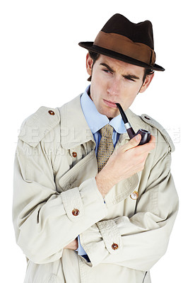 Buy stock photo Thoughtful private investigator smoking his pipe against a white background