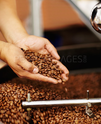 Buy stock photo Cropped shot of hands cupping coffee beans waiting to be ground