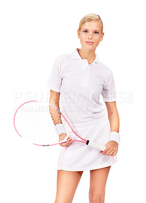 Buy stock photo Portrait of an attractive young blonde woman holding her tennis racquet