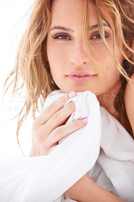 Buy stock photo Portrait of a beautiful girl who has just woken up