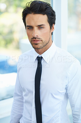 Buy stock photo A handsome businessman in a shirt and tie