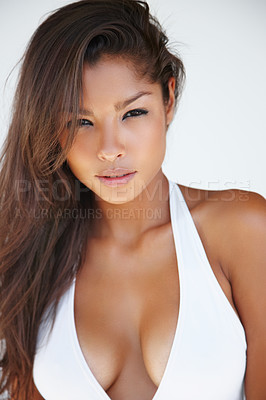 Buy stock photo Sexy young ethnic woman in a white halter neck top - portrait