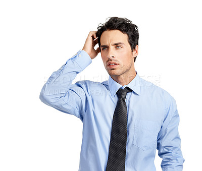 Buy stock photo Studio shot of a handsome businessman with a pensive look