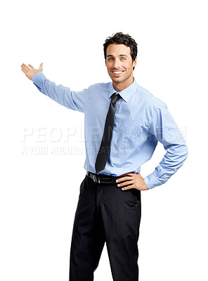 Buy stock photo Studio shot of a handsome businessman presenting copyspace