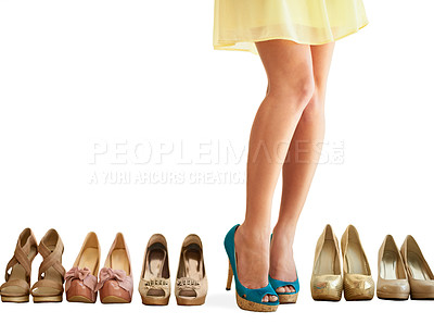 Buy stock photo Cropped image of a woman showing off her new pair of shoes