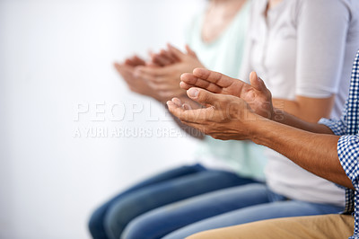 Buy stock photo Cropped shot of a people's hands clapping