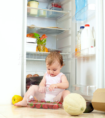 Buy stock photo Shot of a toddler eating food from the fridge