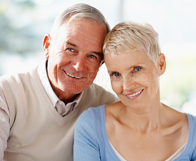 Buy stock photo Closeup portrait of a lovely elderly couple smiling