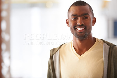 Buy stock photo Smiling young businessman dressed casually for work