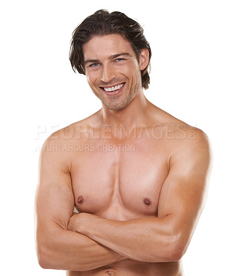 Buy stock photo Cropped waist up portrait of a handsome bare-chested man smiling