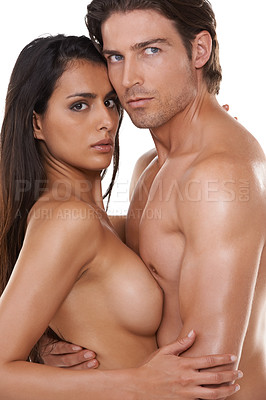 Buy stock photo Portrait of a nude couple embracing each other