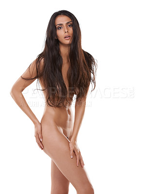 Buy stock photo Shot of a beautiful woman posing nude over a white background