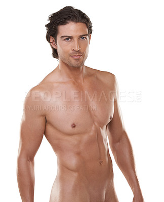Buy stock photo Cropped portrait of a naked man against a white background