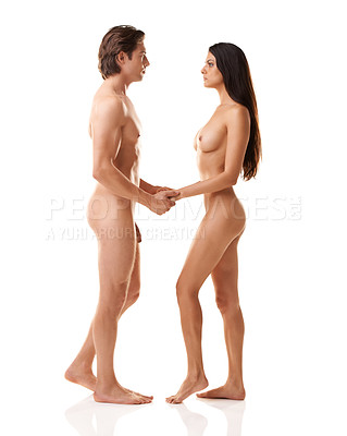 Buy stock photo Full length shot of a gorgeous naked couple standing against a white background
