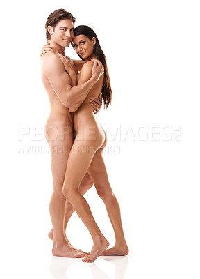 Buy stock photo Full length portrait of a gorgeous naked couple standing against a white background