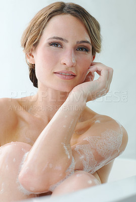 Buy stock photo A beautiful young woman enjoying a luxurious bath