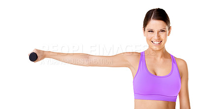 Buy stock photo Shot of an attractive young woman lifting dumbells isolated on white
