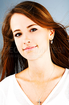 Buy stock photo This is a very beautiful professional european model. The blue background makes it possible to add another background.