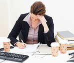 Workload - Tensed business woman working