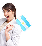 Cute young female with an argentinian flag on white background