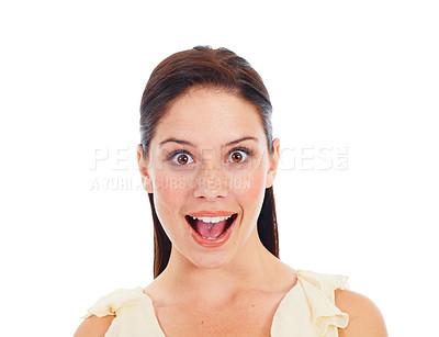 Buy stock photo Young woman looking surprised