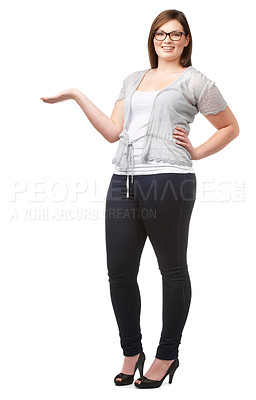 Buy stock photo A full-figured beauty giving you a thumbs up while isolated on a white background