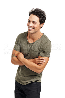 Buy stock photo A handsome young man standing with arms crossed