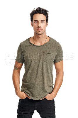 Buy stock photo A handsome young man with his hands in his pockets