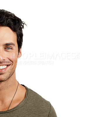 Buy stock photo Cropped portrait of a handsome young man smiling