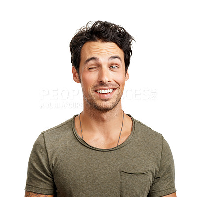 Buy stock photo A handsome young man winking at someone