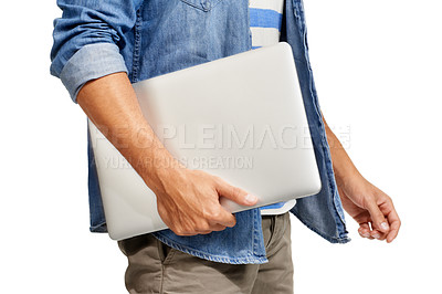 Buy stock photo Cropped image of a young man carrying his