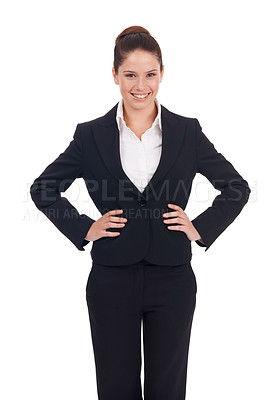Buy stock photo Studio portrait of a positive-looking young business woman standing with her hands on her hips isolated on white